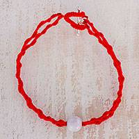 Jade pendant bracelet, 'Elegant Illusion in Red' - Jade Pendant Bracelet in Red from Guatemala