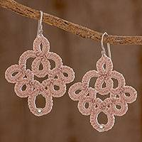 Hand-tatted dangle earrings, 'Champagne Lace' - Hand-Tatted Dangle Earrings in Champagne from Guatemala