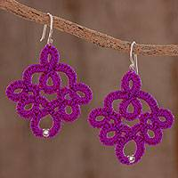 Hand-tatted dangle earrings, 'Mulberry Lace' - Hand-Tatted Dangle Earrings in Mulberry from Guatemala