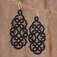 Hand-tatted dangle earrings, 'Black Petals Entwined' - Black Tatted Dangle Earrings on Sterling Hooks
