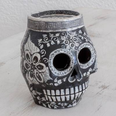 Ceramic statuette, 'Sides of Life' - Hand-Painted Ceramic Skull Statuette from Guatemala
