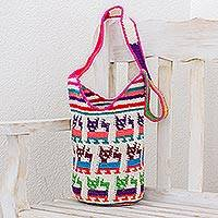 Cotton bucket bag, 'Cute Cats' - Crocheted Cat Motif Cotton Bucket Bag from Guatemala