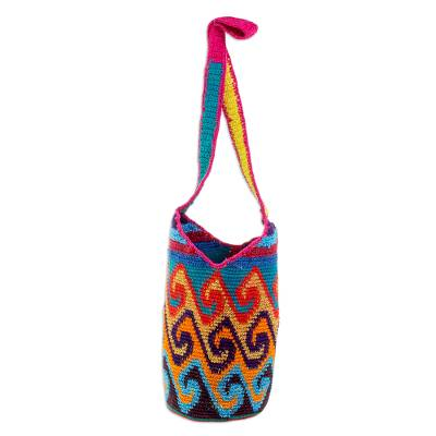 Crocheted Wave Motif Cotton Bucket Bag from Guatemala