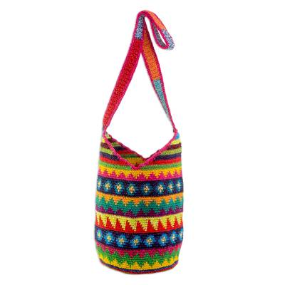 Crocheted Geometric Motif Cotton Bucket Bag from Guatemala