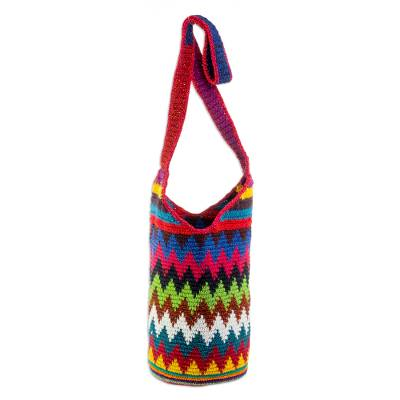 Colorful Zigzag Motif Cotton Bucket Bag from Guatemala