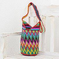 Crocheted cotton bucket bag, 'Zigzag Colors' - Multicolored Zigzag Cotton Bucket Bag from Guatemala