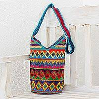 Crocheted cotton bucket bag, 'Wild Colors' - Handcrafted Colorful Cotton Bucket Bag from Guatemala