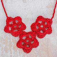 Cotton pendant necklace, 'Flowers of Old' - Floral Cotton Pendant Necklace in Red from Guatemala