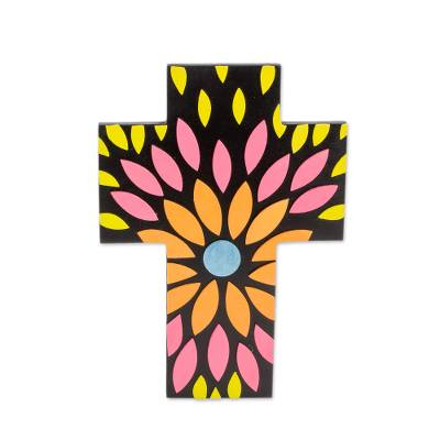 Floral Design Gourd and Wood Wall Cross from El Salvador