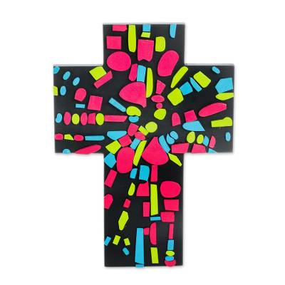 Multicolored Abstract Gourd and Wood Wall Cross