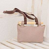 Cotton shoulder bag, 'Creative Casual' - Beige Handwoven Cotton Shoulder Bag with Removable Strap