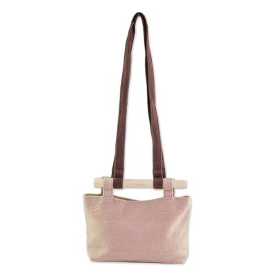 Beige Handwoven Cotton Shoulder Bag with Removable Strap