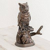 Wood sculpture, 'Sage Owl' - Hand Carved Owl in a Tree Brown Cedar Wood Sculpture