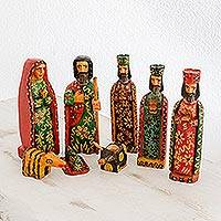 Wood nativity scene, 'Promised Arrival' (set of 8) - Eight Piece Pinewood Nativity Scene from Guatemala