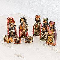Wood nativity scene, 'Promised King' (set of 8) - Eight Piece Pinewood Nativity Scene from Guatemala