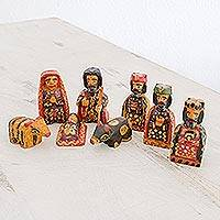 Wood nativity scene, 'Amazing Birth' (set of 8) - Eight Piece Pinewood Nativity Scene from Guatemala