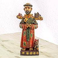 Wood statuette, 'Faithful Saint' - Hand Painted Pinewood Saint Francis Statuette