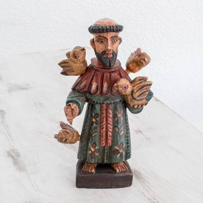 Wood statuette, 'Rustic Saint Francis' - Rustic Wood Statuette of Saint Francis from Guatemala
