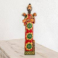 Wood sculpture, 'Loving Saint' - Hand Painted Pinewood Sculpture of Saint Francis