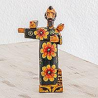 Wood statuette, 'Friend of Animals' - Hand Painted Pinewood Statuette of Saint Francis