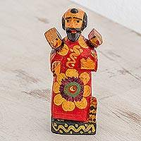Wood figurine, 'Saint Francis of Assisi' - Pinewood Figurine of Saint Francis from Guatemala