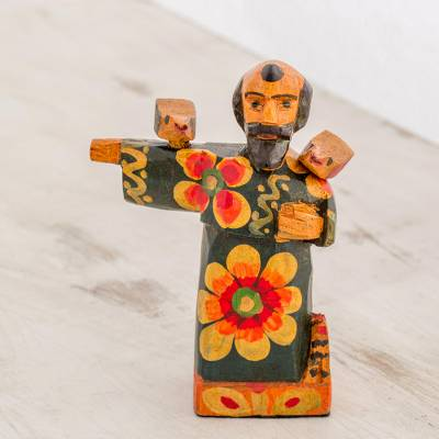Wood figurine, 'Patron Saint of the Animals' - Hand-Painted Wood Saint Francis Figurine from Guatemala