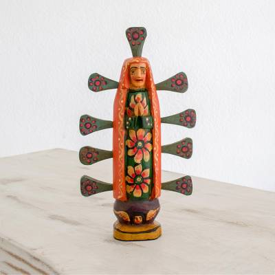 Wood statuette, 'Orange Guadalupana' - Pinewood Mary Statuette in Orange from Guatemala