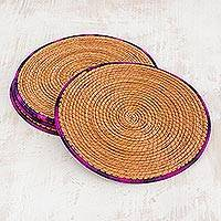 Pine needle placemats, 'Latin Dinnertime in Purple' (set of 4) - Four Pine Needle Placemats with Purple Trim from Guatemala