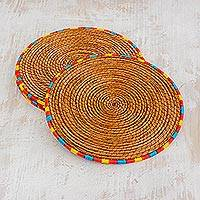 Pine needle placemats, 'Rainbow Latin Dinnertime' (set of 4) - 4 Pine Needle Placemats with Colorful Trim from Guatemala