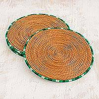 Pine needle placemats, 'Latin Dinnertime in Green' (set of 4) - Pine Needle Placemats with Green Trim from Guatemala