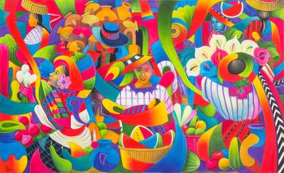 Signed Expressionist Painting of a Guatemalan Market
