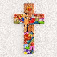 Wood wall cross, 'Good Adventure' - Hand-Painted Pinewood Wall Cross from El Salvador