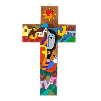 Handcrafted Pinewood Wall Cross from El Salvador