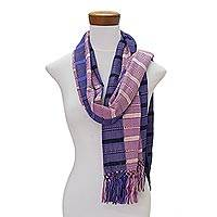 Rayon scarf, 'Sweet Beauty' - Hand Woven Striped Rayon Wrap Scarf from Guatemala