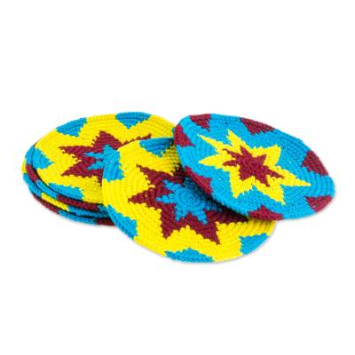 Multi-Color Starburst Cotton Crochet Coasters (Set of 6)