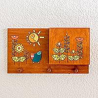 Wood letter and key holder, 'Day of Sunshine' - Blue Bird Yellow Flowers Pinewood Letter and Key Holder