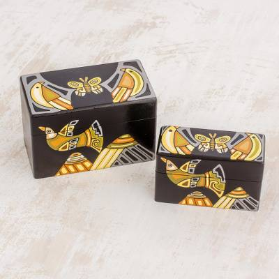 Wood decorative boxes, 'Mountain Friends' (pair) - Black with Painted Birds Rectangular Pinewood Boxes (Pair)