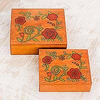 Wood decorative boxes, 'Glorious Garden' (pair) - Square Pinewood Red-Orange Flowers Decorative Boxes (Pair)