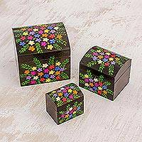 Wood mini decorative boxes, 'Floral Treasures' (set of 3) - Multi-Color Floral Dark Pinewood Decorative Boxes (Set of 3)