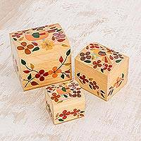 Wood mini decorative boxes, 'Songbird Treasures' (set of 3) - Colorful Floral Light Pinewood Decorative Boxes (Set of 3)