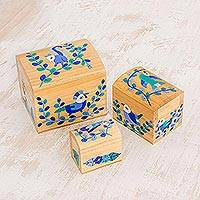 Wood mini decorative boxes, 'Forest Treasures' (set of 3) - Blue Floral Birds Light Pinewood Decorative Boxes (Set of 3)