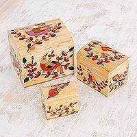 Wood decorative boxes, 'Salvadoran Nature' (set of 3) - Hand-Painted Floral Bird Pinewood Decorative Boxes (3)