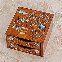 Wood jewelry box, 'Lively Tree' - Pinewood Jewelry Box with Bird and Tree Motifs