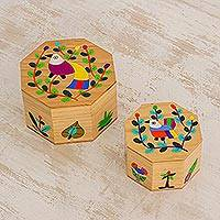 Wood decorative boxes, 'God's Nature' (pair) - Pair of Pinewood Decorative Boxes with Bird Motifs