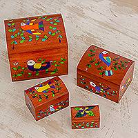 Wood decorative boxes, 'Avian Beauty' (set of 4) - Bird Motif Pinewood Decorative Boxes (Set of 4)