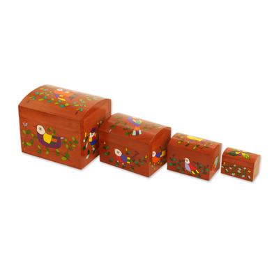 Bird Motif Pinewood Decorative Boxes (Set of 4)