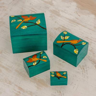 Wood decorative boxes, 'Between Branches' (set of 4) - Bird Motifs Pinewood Decorative Boxes in Green (4)
