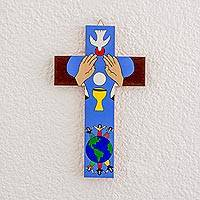 Wood wall cross, 'The Eucharist' - Hand-Painted Christian Pinewood Wall Cross from El Salvador