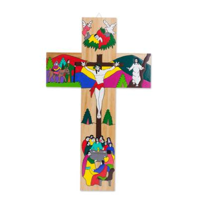 Hand-Painted Pinewood Wall Cross of Jesus from El Salvador