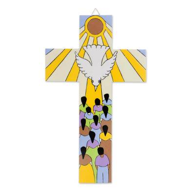 Pinewood Wall Cross of the Holy Spirit from El Salvador
